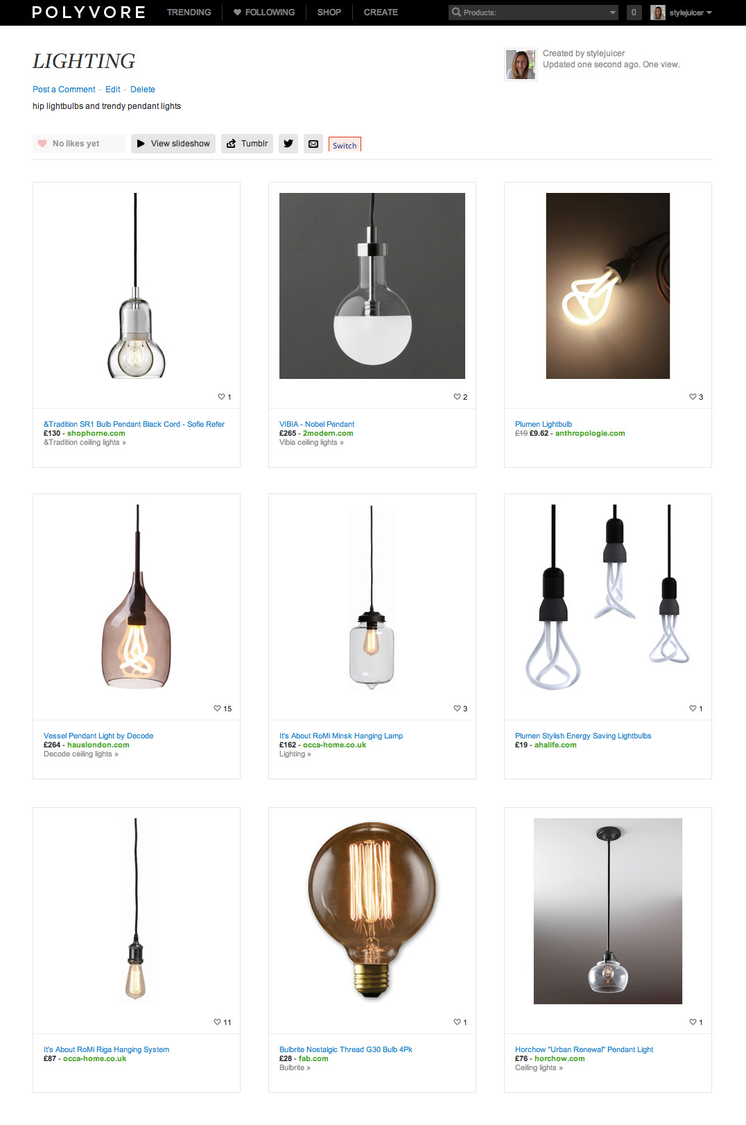 Stylejuicer Polyvore LIGHTING Collection