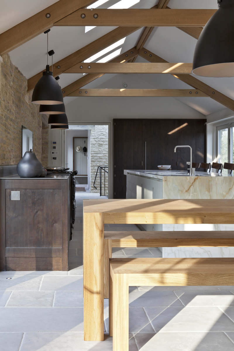 Bespoke kitchen for cotswolds barn conversion for Modern barn kitchen