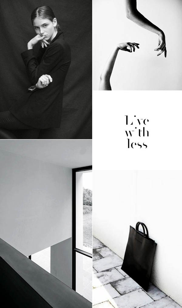 live with less, mood board, black and white, architecture, fashion, quality, hands, typography, handbag, reflective, lines, stark, attitude, fabric