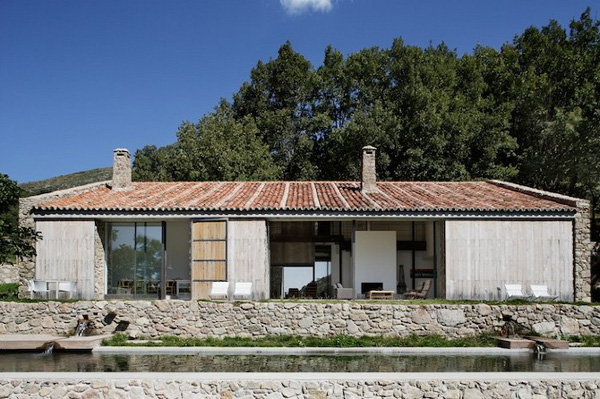 off the grid, extremadura, spain, abaton architects, green, environmentally friendly, energy, self sufficient, material mix, old and new, restoration, stables, this is paper, photovoltaic, hydro power, pool, pure water, streams, fountain, interior design, style, trend, family home