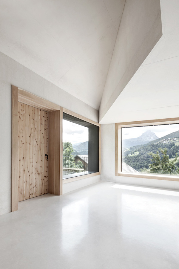 architecture, dolomites, south tyrol, contemporary, alpine, cabin, pedevilla architects, family residence, holiday rental, sustainable, local materials, stone, larch, experience, minimal, sleek, concrete, trend, style