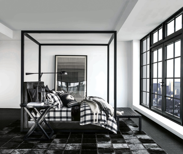 ralph lauren, downtown modern, collection, aw14, fall, holiday, season, country in the city, navajo, cypress wood, oak, textiles, fabrics, cashmere, mohair, graphic, black and white, prints, fulton pendant, Equilibrium table lamp, luxury, comfort
