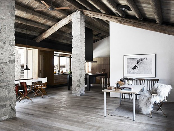 modern rustic, textures, materials, renovation, restoration, stone house, farm, mountains, nature, pyrenees, spanish, carlos nicolau, relax, simple life, minimal, concrete, fireplace, bespoke, roof, exposed beams, oak, cabin, trend, style, interior, home, weekend