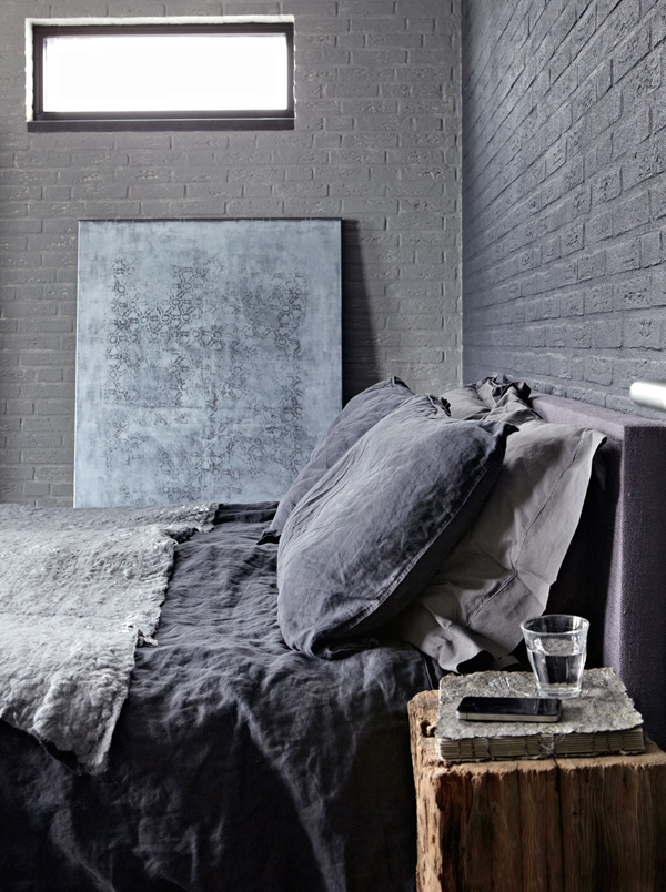 interiors crush, warehouse, friesland, industrial, vintage, a-frame, home, decor, rugs, throws, boiled wool, felt, textures, materials, wood, steel, polished, concrete, cozy, warm, muted, colour palette, linen, indigo, rustic, modern, pinterest, interior, styling, trend, alexander van berge