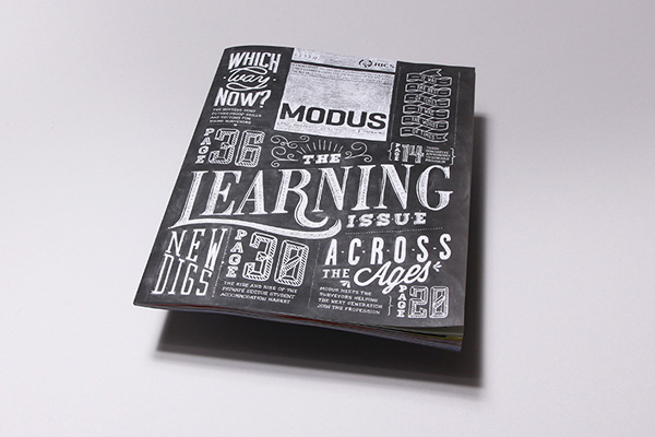 modus, magazine, publication, B2B, journal, rics, uk, Royal Institution of Chartered Surveyors, learning, super sized, chalk board, lettering, typography, hand drawn, photoshop, fun, diy, coming soon agency, belgium, imperfections, style, trend, design inspiration, inspo