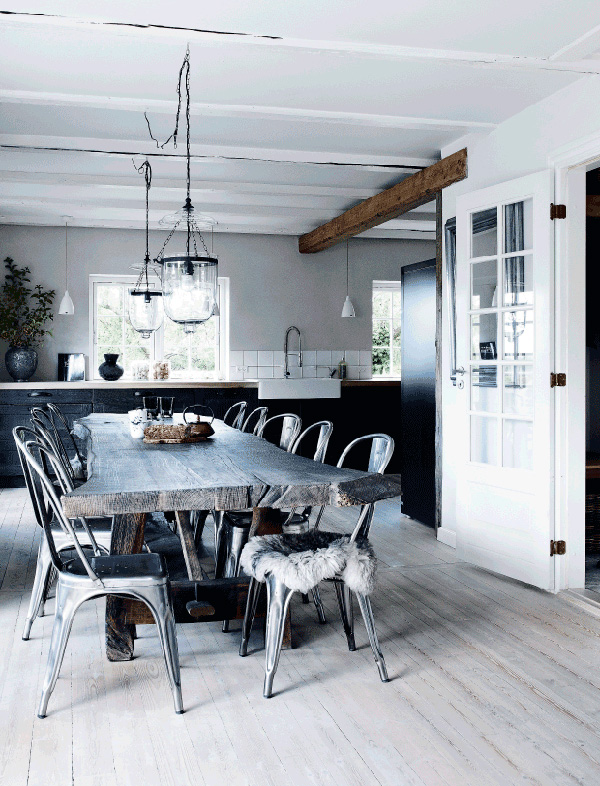 modern rustic, danish, denmark, cottage, kitchen, style, trend, interior design, styling, handmade, wooden, dining table, metal chairs, sheep skin, exposed beams, brick wall, muted, shades of grey, organic, curved, traditional display cabinet
