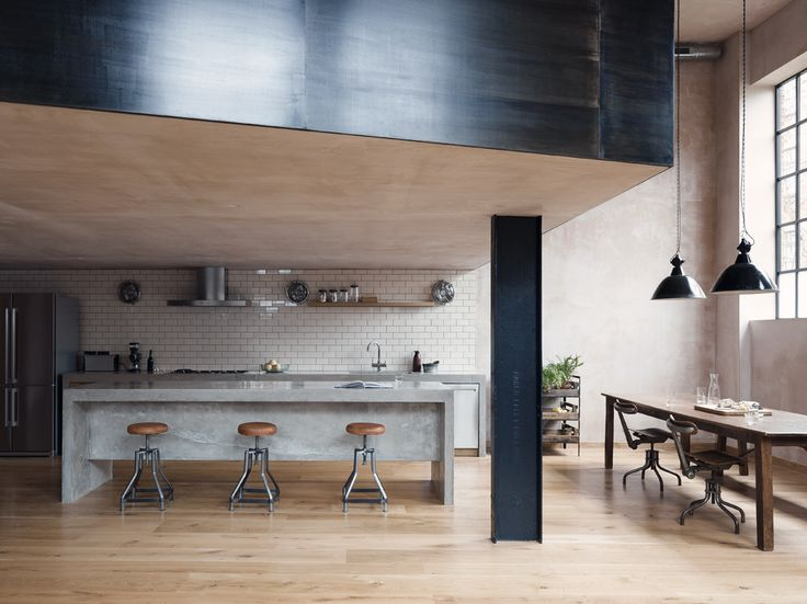 loft love, clapton warehouse, east london, industrial, untreated render, nude, soft tones, black steel girders, mezzanine, interior design, style, trend, exposed, clean lines, concrete wetroom, decor, home