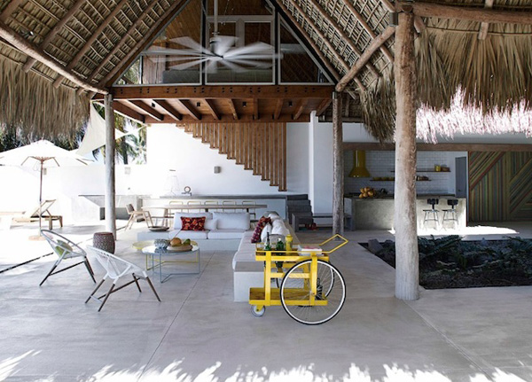 dream holiday home, el salvador, beach house, central america, interior design, polished concrete, plam tree leaves, shade, relax, chill out, open plan, outdoor, scandinavian theme, a frame construction, hot, summer, vacation, watermelon daiquiri