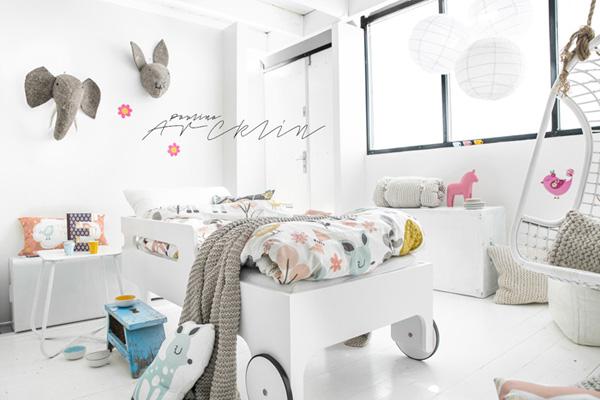 rafa kids, white toddler bed, r toddler bed, moshi moshi bedding, paulina arcklin photography, white, bright, soft, playful, trend, style, kids room inspiration, rafa kids blogspot, styling