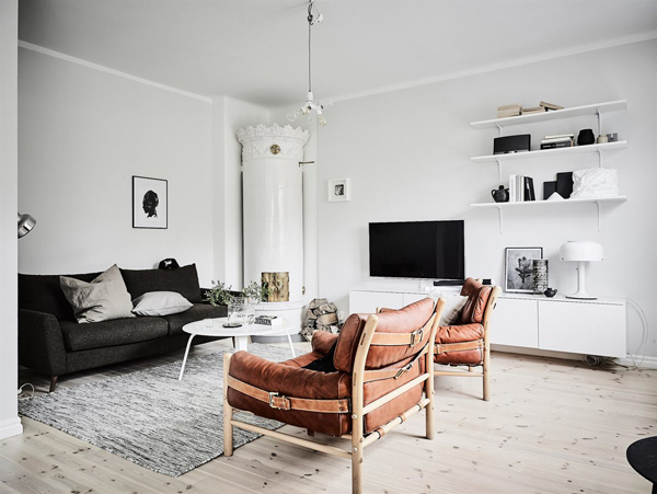 This Stockholm apartment with it's monochrome  browns