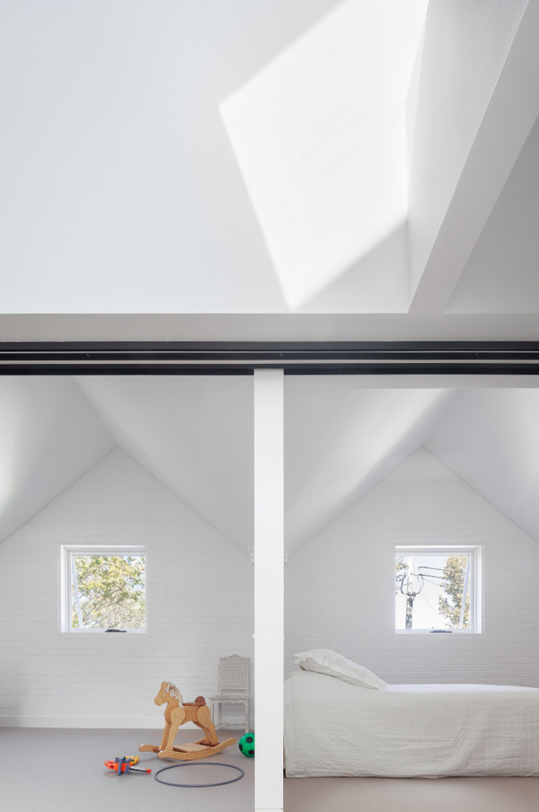 architecture, tribe studio, house maher, playful study, volume, light, contrasting brick, smooth plaster, offset ceiling, wow factor, pitched gable, double height, ceiling, style, trend