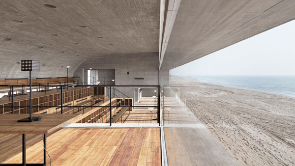 seashore library, vector architects, china, concrete, board-lines framework, grain texture, public library, meditation space, vistas, stimulate, calm the mind, slow living, style, trend, austerity