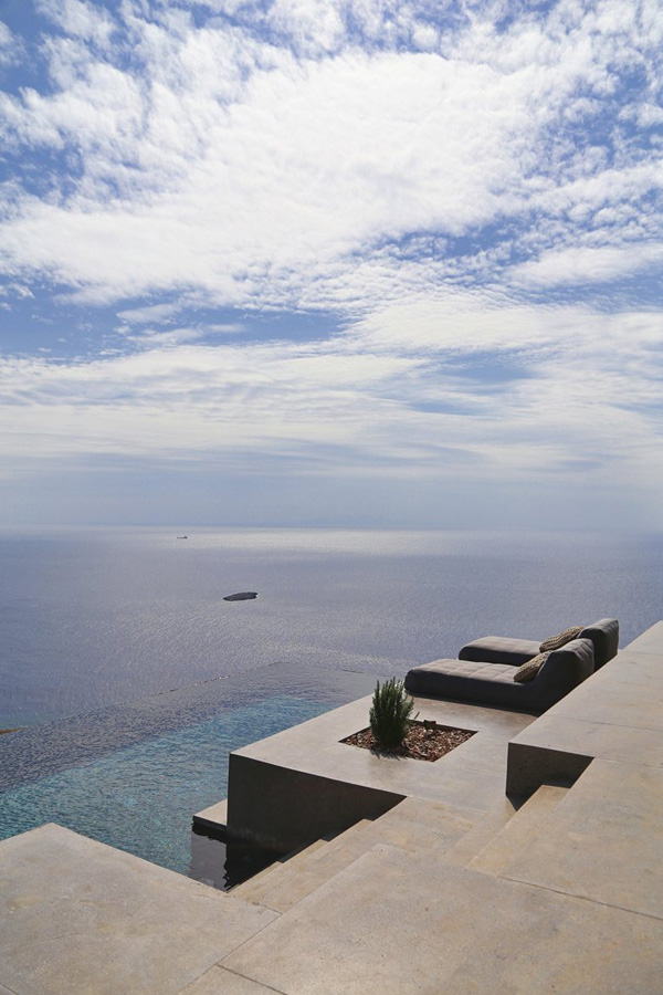 syros, greece, dream holiday home, bay of plagia, simple, contemporary, architecture, relaxation areas, infinity pool, modern rustic, kitchen, solid wood, concrete, minimal