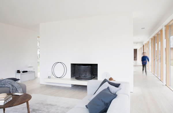 Reydon Grove Farm, suffolk, Danish, architects, norm architects, zeitgeist, contemporary, farmhouse, functional, modern, simple, American, indoor, outdoor, walkway, views, simple layout, quality, different materials, warm, calm, interior design, pared back, decor