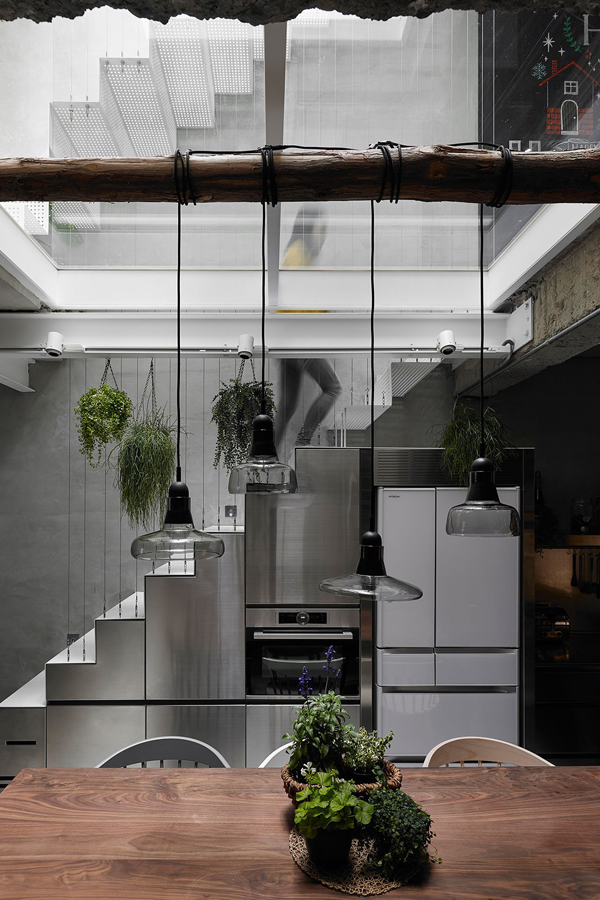 house w, taipei, taiwan, townhouse, kc design studio, air, light, plants, structural glass, semi transparent, metal mesh facade, trend, industrial look, concrete, architecture, interiors