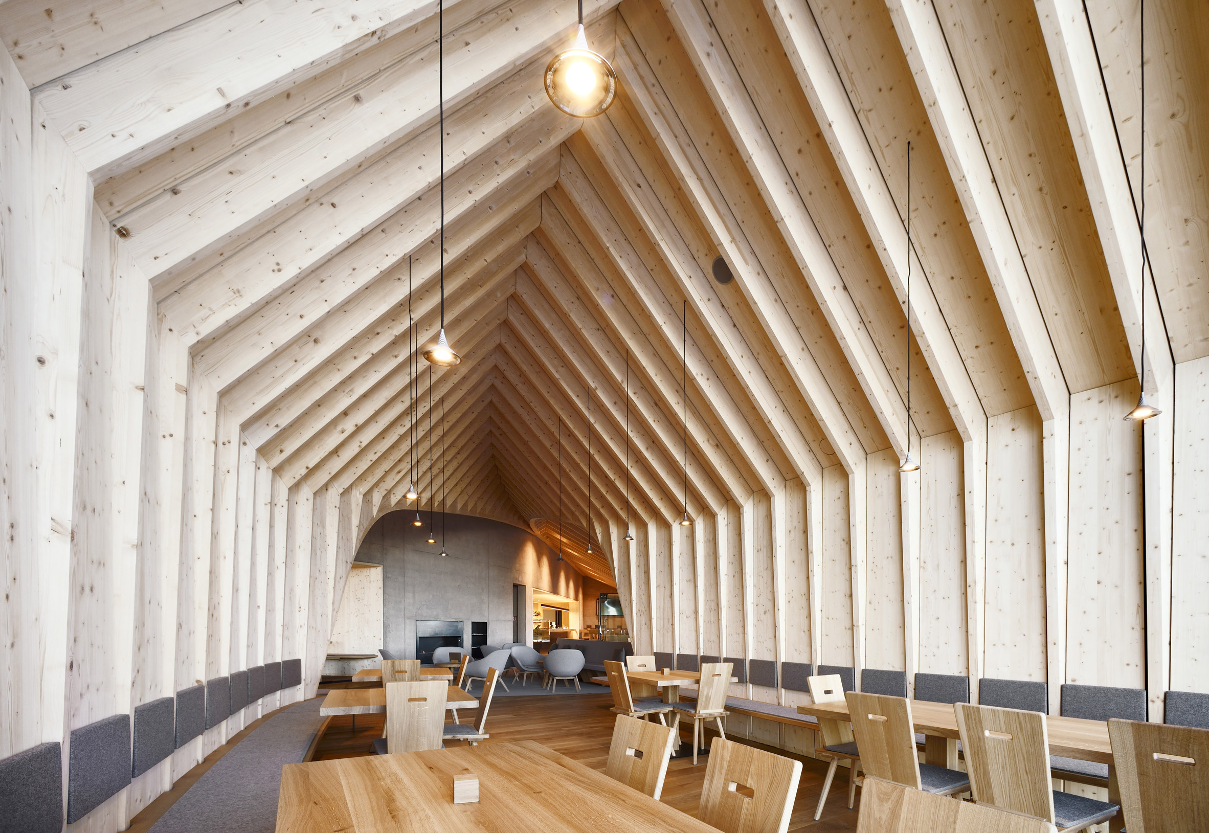 swiss, mountain, restaurant, three huts, oberholz, ski resort, peter pilcher, Pavol Mikolajcak, architects, structure, spruce, traditional, textures, construction, concrete, wood, view, scenery