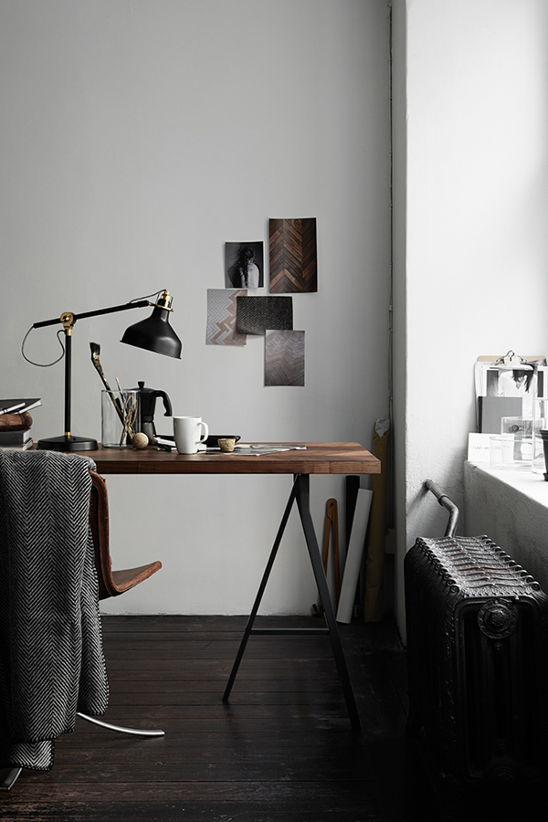 ikea inspo, herringbone, worktop, table, industrial, style, stylish, luxurious, walnut, wood, polished, trestle, vintage, lamp, pella hedeby, kristofer johnsson, decor, interiors, trend