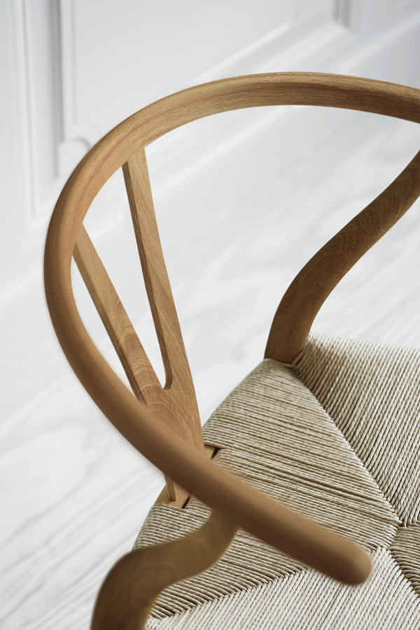 CH24, wishbone chair, hans j wegner, 103rd birthday, limited edition, engraved signature, oiled elm, paper cord seat, craftsmanship, quality, best seller, carl hansen and son, designer, 1949, production, north american elm, trend, danish design, scandinavian, minimal, form and function