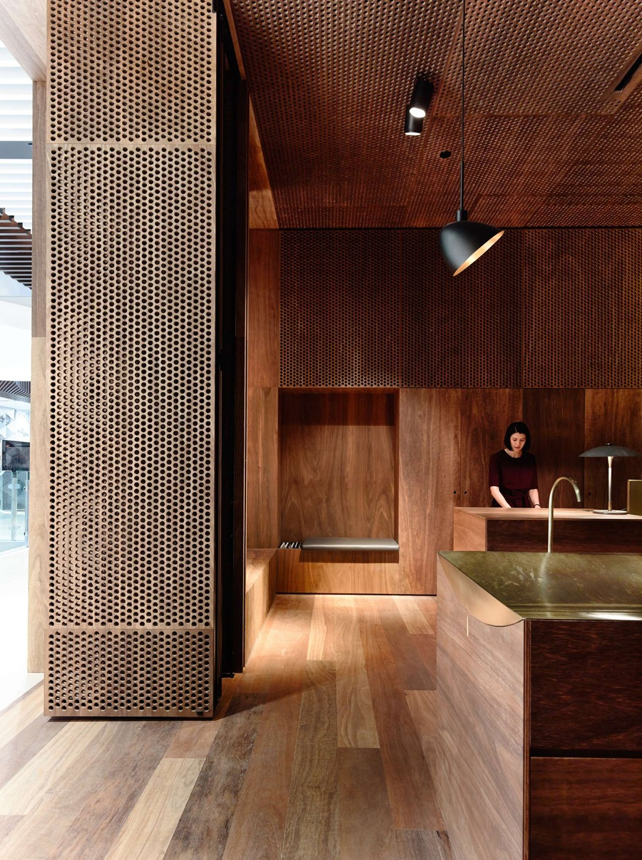 aesop, emporium, melbourne, Kerstin Thompson Architects, dark, rich, intimate, luxurious, interior, design, style, styling, PSLab, lighting, sustainably sourced, ply hardwood, textures, materials, graphic wood perforations
