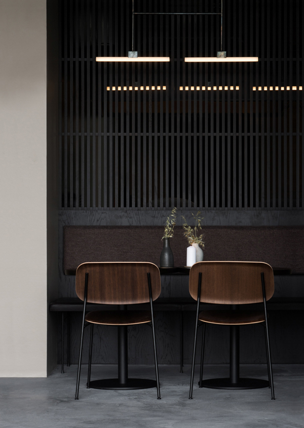 Norm Architects, Naevaer restaurant, Copenhagen, moody colour palette, intimate, dark, raw, industrial, tactile materials, large foliage, decorative plants, casual, style, trend, hip