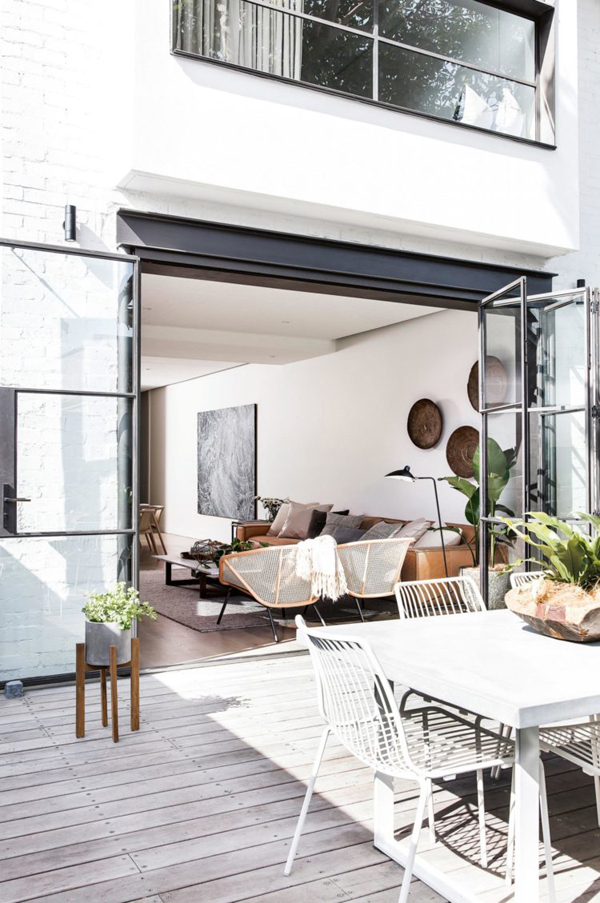 outdoor living, pinterest, crittall, style, windows, doors, sydney home, white backdrop, sculptural plants, rich textures, trend, style, summer, sunshine