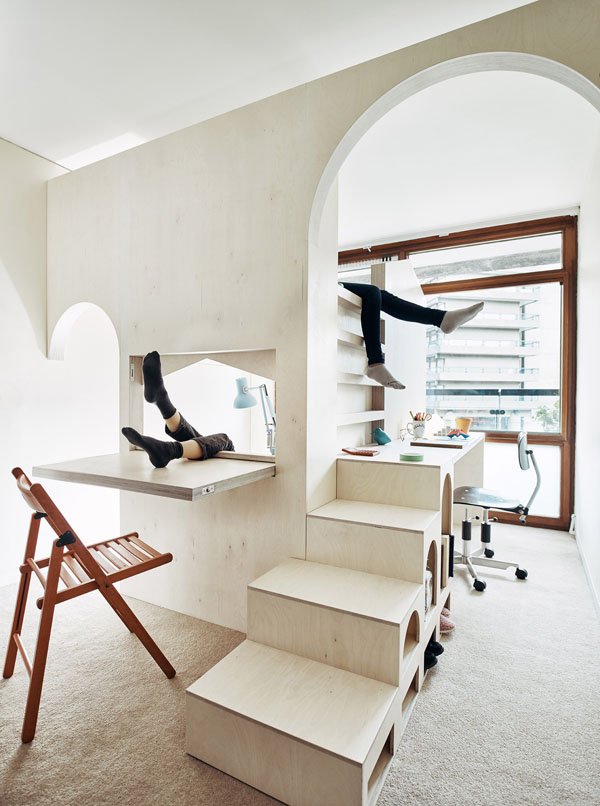 a room for two, barbican, central london, brutalist, architecture, custom made, birch plywood, versatile, strong, contemporary, minimal, clean, function, form, style, trend, functional design, v and a museum, creative application, interior design, furniture