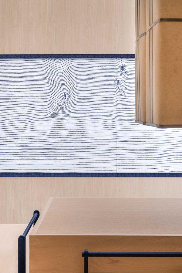 restaurant hokkaidon, branding, design, graphic design, a work of substance, agency, chirashi, traditional, japanese, hong kong, graphic, minimal, contemporary, elegant, clean, interior design, cypress wood, menu, dish, simple, trend, indigo, graphic, mural