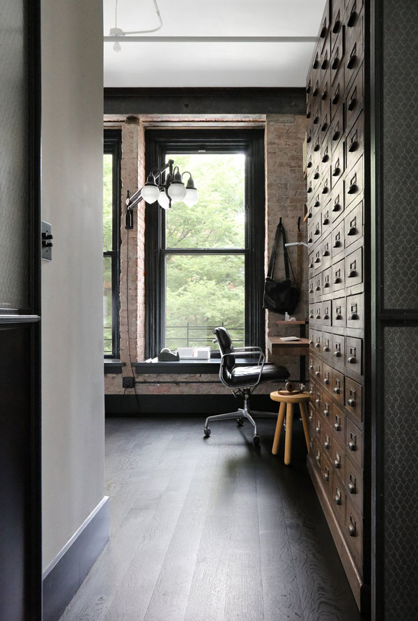 great jones noho loft, union studio, matthew bear, craftsmanship, bespoke, heirloom quality furniture, handcrafted architecture, interior design, style, styling, trend, industrial style, crittall, steel, modern, contemporary, vintage, characterful, textures, rich, designer lighting, furniture