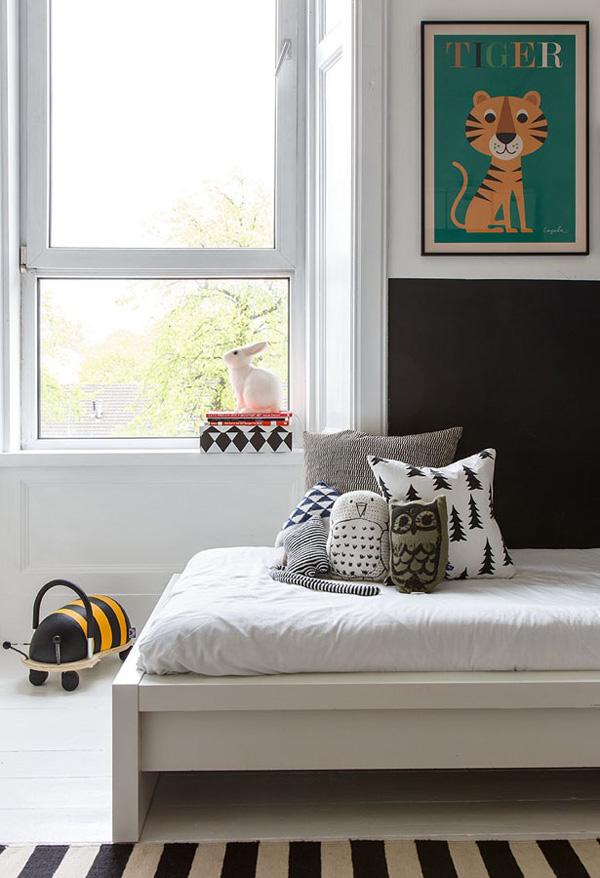 dormitorio infantil blanco y negro